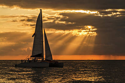 Poster featuring the photograph Catamaran Sunset Cruise In Key West by Bob Slitzan