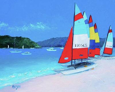 Catamarans Beach Painting Poster by Jan Matson