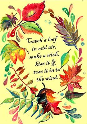 Catch A Leaf In Mid Air Poster by Sweeping Girl