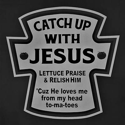Poster featuring the photograph Catch Up With Jesus B W by Rob Hans