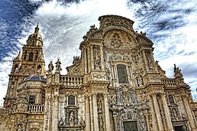 Poster featuring the digital art Catedral De Murcia by Angel Jesus De la Fuente