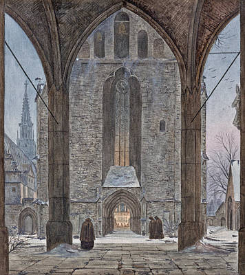 Cathedral In Winter Poster by Ernst Ferdinand Oehme