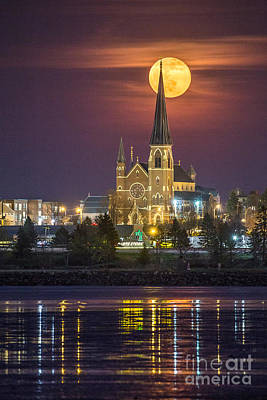 Cathedral Of The Immaculate Conception With Full Moon Poster