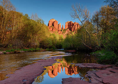 Cathedral Rock Reflection Poster by Michael Blanchette