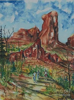 Hiking Cathedral Rock,  Sedona, Az. Poster