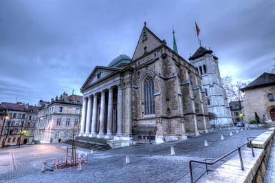Cathedral Saint-pierre, Peter, In The Old City, Geneva, Switzerland, Hdr Poster