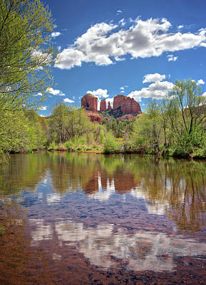 Catherdral Rock And Reflection - Sedona #2 Poster by Jennifer Rondinelli Reilly - Fine Art Photography