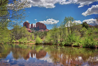 Catherdral Rock And Reflection- Sedona Poster by Jennifer Rondinelli Reilly - Fine Art Photography