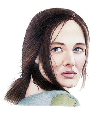 Poster featuring the drawing Catherine Mccormack  by Danielle R T Haney