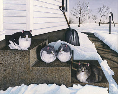 Cats - Jake's Mousers Poster by Carol Wilson