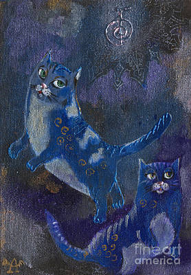 Cats And Reiki Poster by Angel  Tarantella