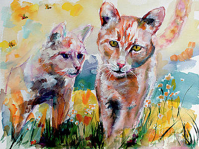 Poster featuring the painting Cats In The Garden Happy Days by Ginette Callaway