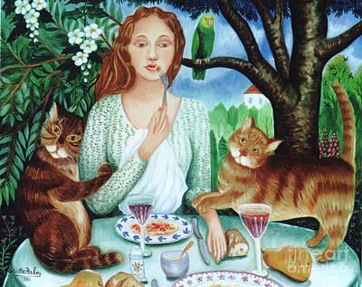 Cats Love Spaghettis Poster by Colette Raker
