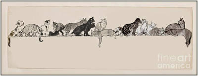 Cats On A Ledge Poster by MotionAge Designs