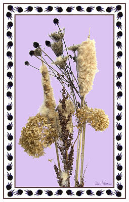 Poster featuring the digital art Cattails And November Flowers by Lise Winne