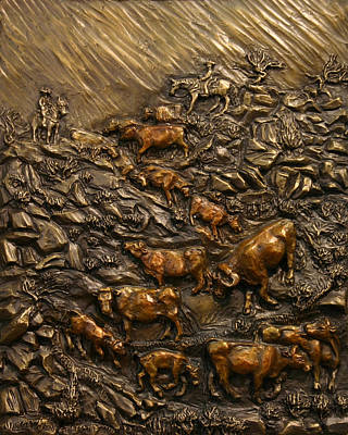 Poster featuring the sculpture Cattle Drive by Dawn Senior-Trask