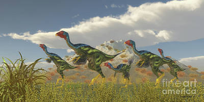 Caudipteryx Dinosaur Flock Poster by Corey Ford