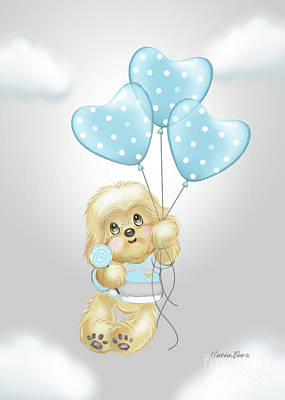 Poster featuring the painting Cavapoo Toby Baby by Catia Lee