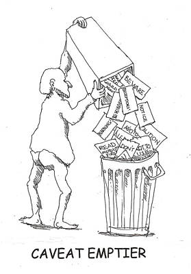 Poster featuring the drawing Caveat Emptior by R  Allen Swezey