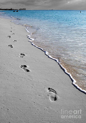 Cayman Footprints Color Splash Black And White Poster by Shawn O'Brien