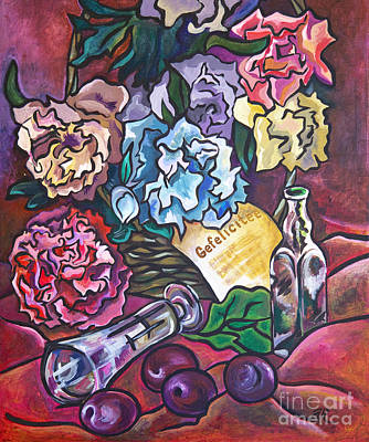 Poster featuring the painting Celebration Flowers by Ariadna De Raadt