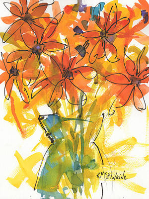 Celebration Of Sunflowers Watercolor Painting By Kmcelwaine Poster by Kathleen McElwaine