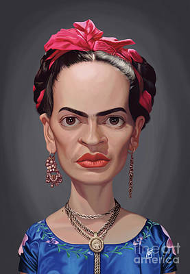 Poster featuring the digital art Celebrity Sunday - Frida Kahlo by Rob Snow