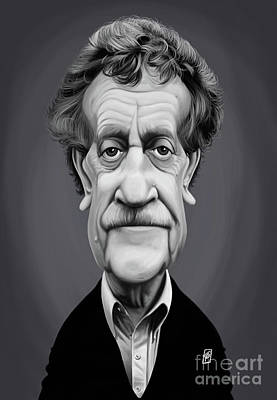 Poster featuring the digital art Celebrity Sunday - Kurt Vonnegut by Rob Snow