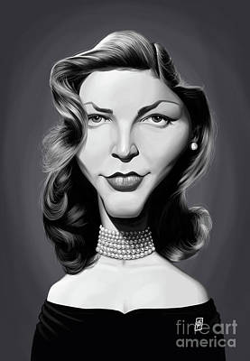Poster featuring the digital art Celebrity Sunday - Lauren Bacall by Rob Snow