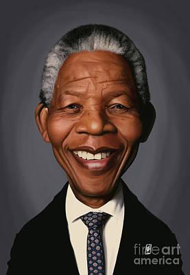 Celebrity Sunday - Nelson Mandela Poster by Rob Snow