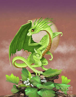 Celery Dragon Poster by Stanley Morrison