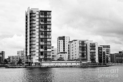 celestia vega and maia houses luxury apartment buildings on roath basin on overcast day Cardiff bay  Poster