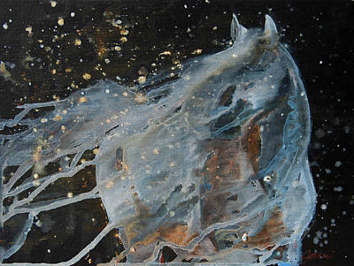 Poster featuring the painting Celestial Stallion  by Jani Freimann