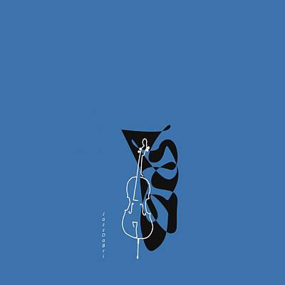 Cello In Blue Poster