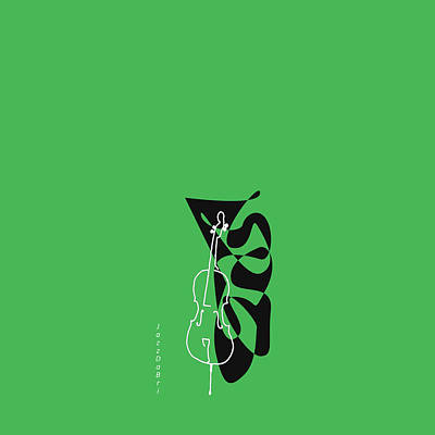 Cello In Green Poster