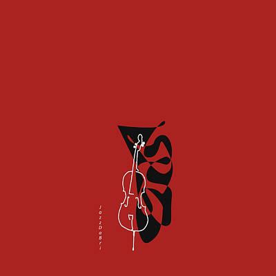 Cello In Orange Red Poster by David Bridburg