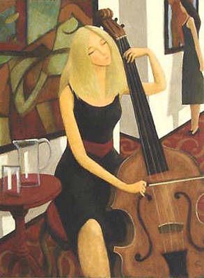 Poster featuring the painting Cello Solo by Glenn Quist