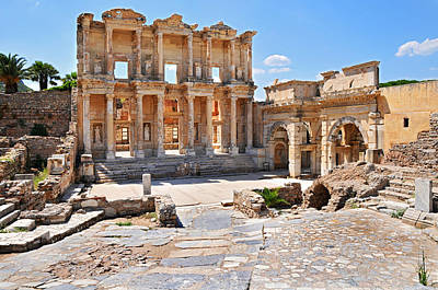 Celsus Library And Gate Of Augustus Poster by Michael Oakes