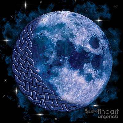 Poster featuring the mixed media Celtic Blue Moon by Kristen Fox