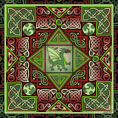 Poster featuring the mixed media Celtic Dragon Labyrinth by Kristen Fox