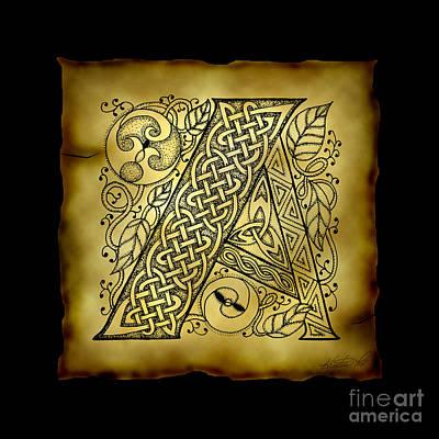 Celtic Letter A Monogram Poster by Kristen Fox