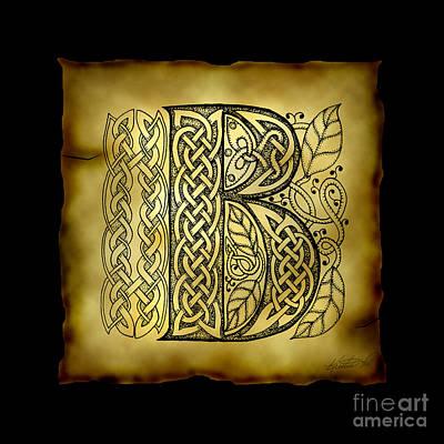 Celtic Letter B Monogram Poster by Kristen Fox