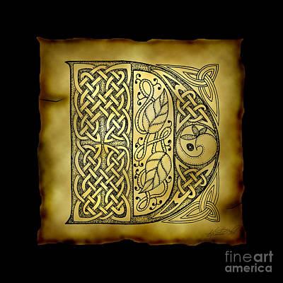 Celtic Letter D Monogram Poster