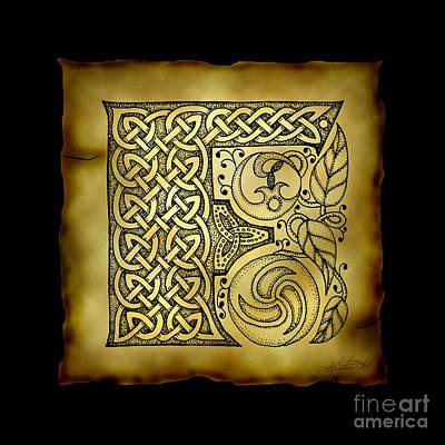 Celtic Letter F Monogram Poster