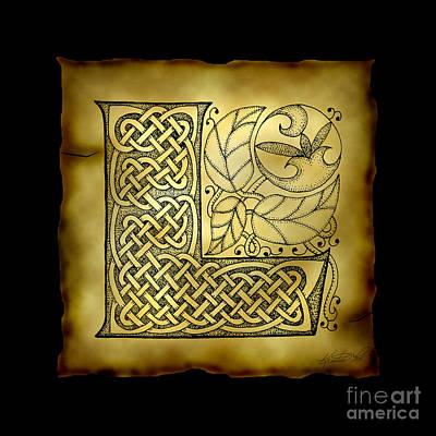 Celtic Letter L Monogram Poster