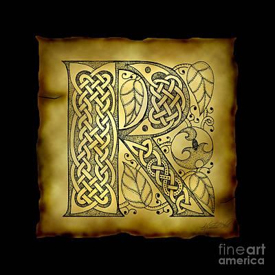 Celtic Letter R Monogram Poster