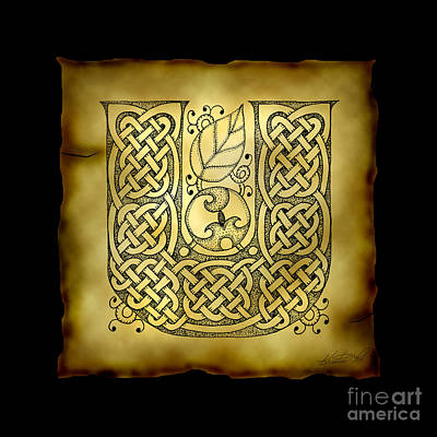 Celtic Letter U Monogram Poster by Kristen Fox