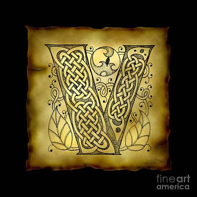 Celtic Letter V Monogram Poster