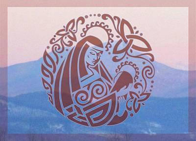 Celtic Madonna Over A Mountain Poster by Ishana Ingerman