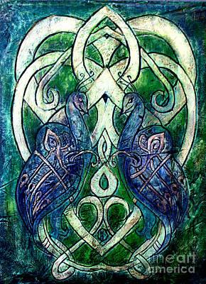 Celtic Peacocks Poster